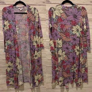 $78 Lularoe purple floral Sarah nwot size S